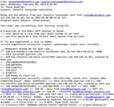 TLS test sender email