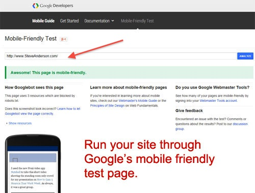 Google Mobile Test Site