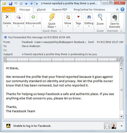 Facebook impostor accounts steve andersons techtips facebook email ccuart Image collections